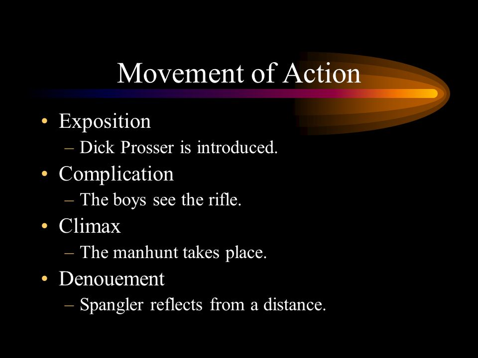 Movement of Action Exposition Complication Climax Denouement
