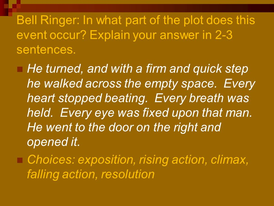 Bell Ringer: In what part of the plot does this event occur