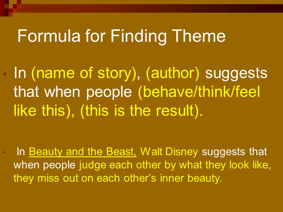 Formula for Finding Theme