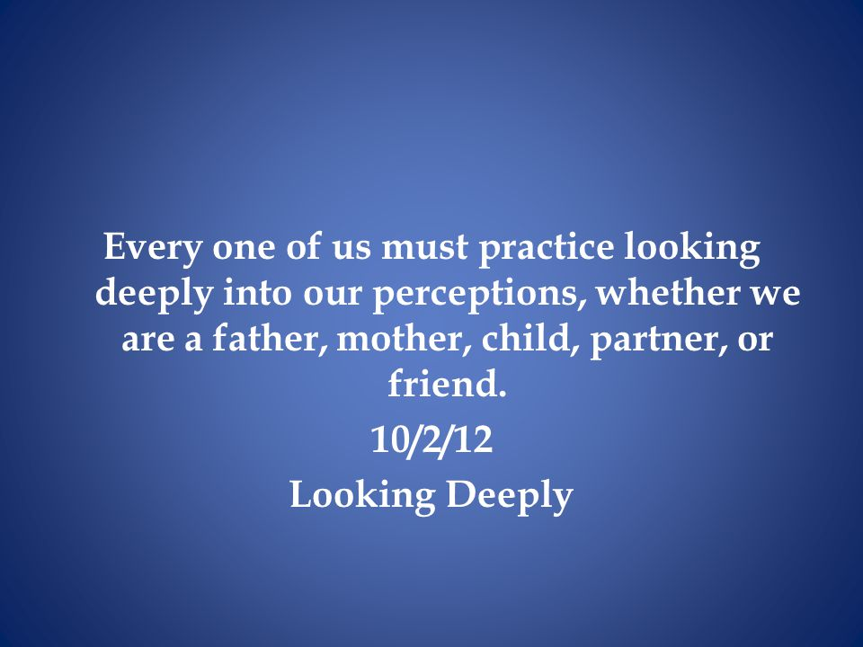 Every one of us must practice looking deeply into our perceptions, whether we are a father, mother, child, partner, or friend.