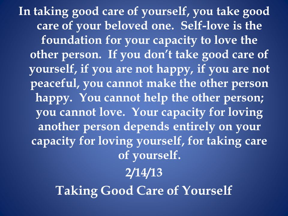 Taking Good Care of Yourself