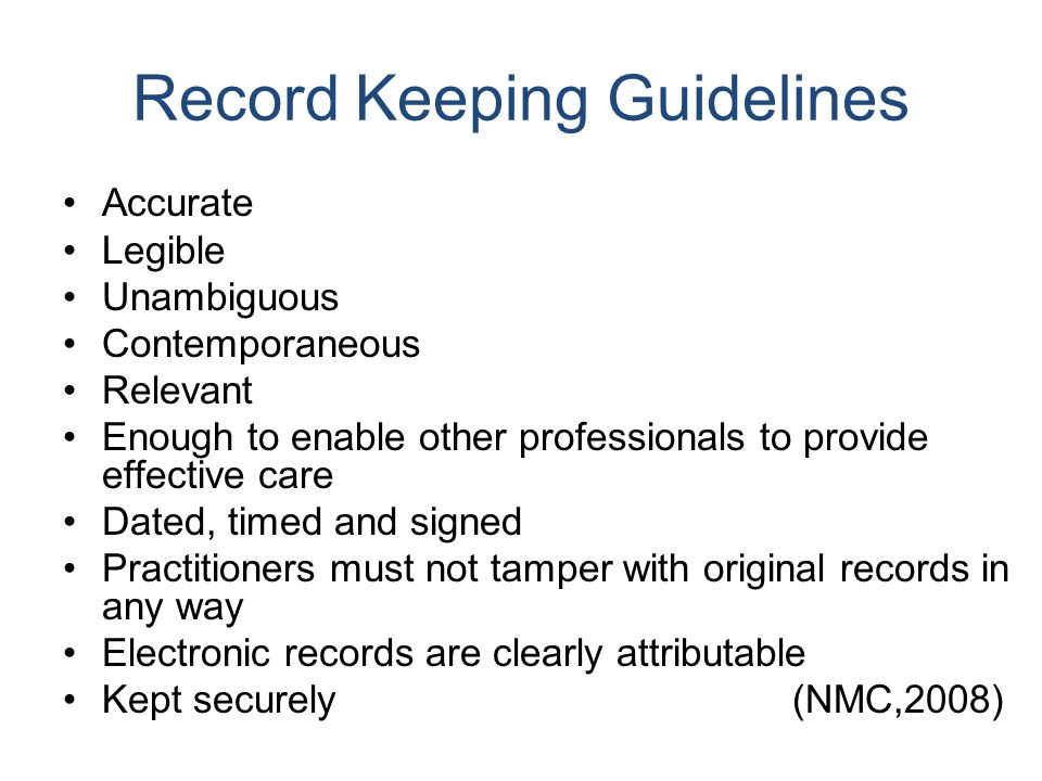 Record Keeping Guidelines