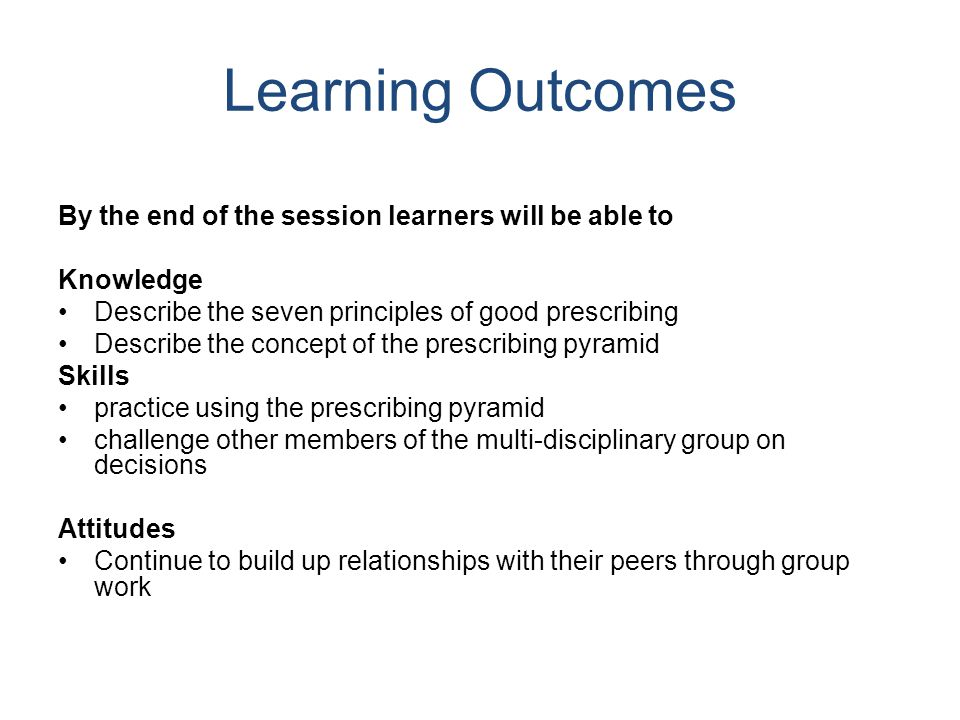 Learning Outcomes By the end of the session learners will be able to