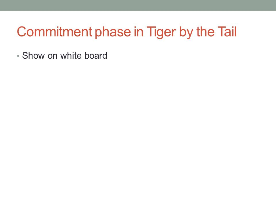 Commitment phase in Tiger by the Tail