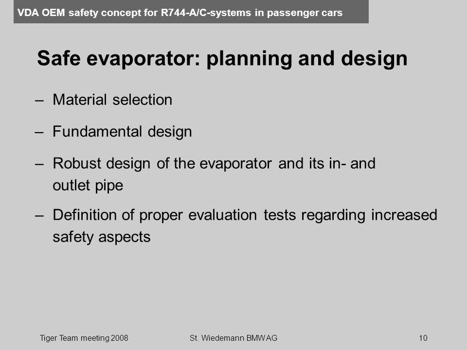 Safe evaporator: planning and design