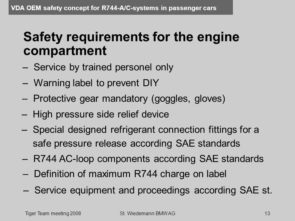 Safety requirements for the engine compartment