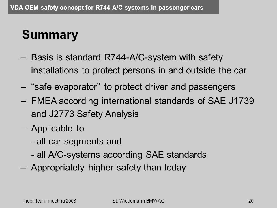 Summary Basis is standard R744-A/C-system with safety installations to protect persons in and outside the car.