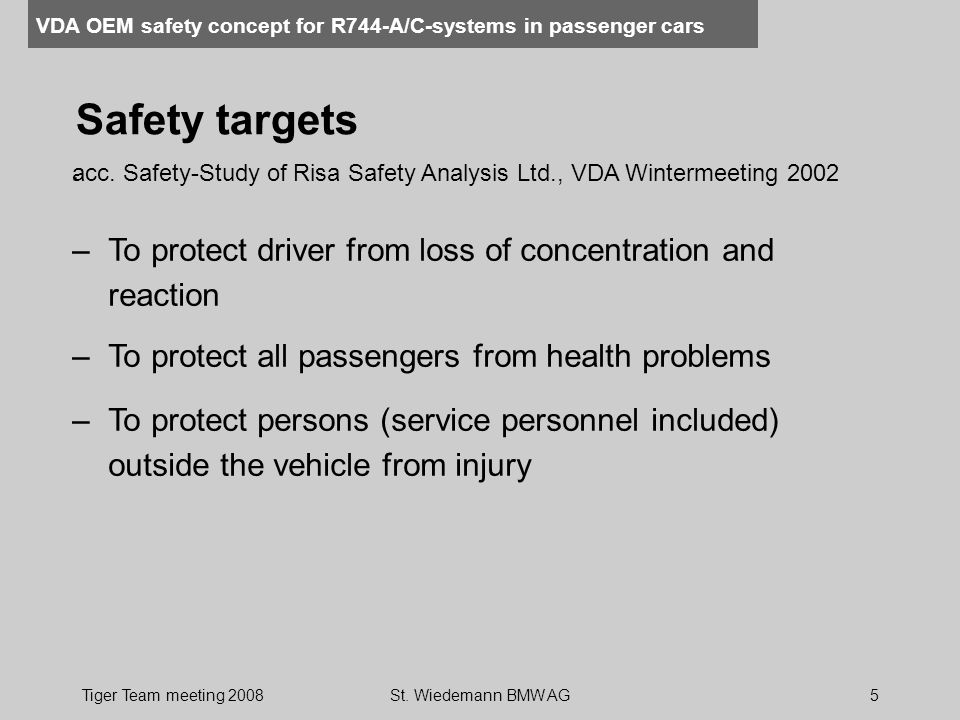 Safety targets . acc. Safety-Study of Risa Safety Analysis Ltd., VDA Wintermeeting 2002. To protect driver from loss of concentration and reaction.