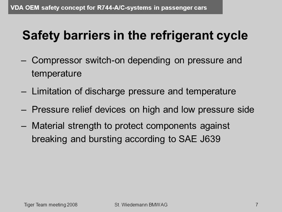 Safety barriers in the refrigerant cycle