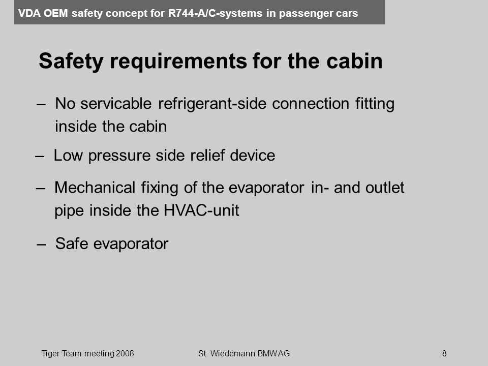 Safety requirements for the cabin