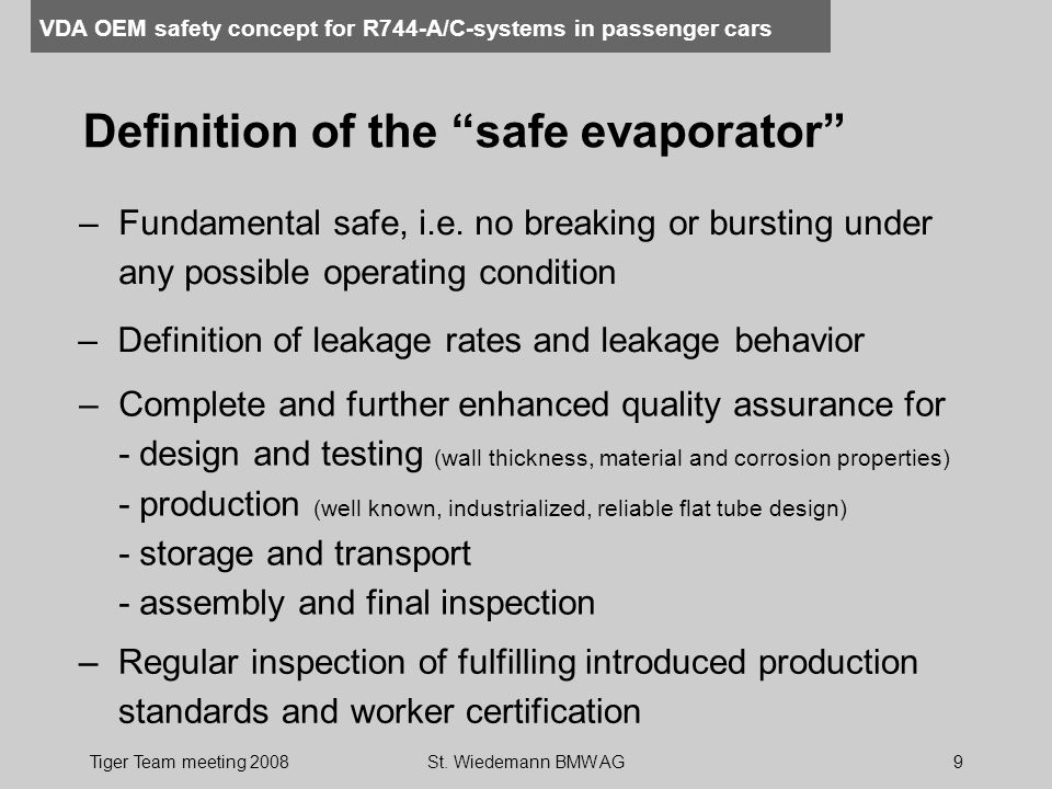 Definition of the safe evaporator