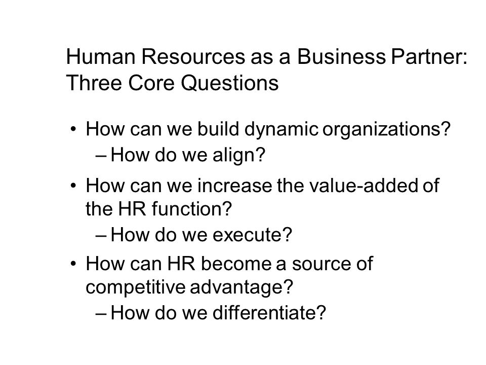 Human Resources as a Business Partner: Three Core Questions