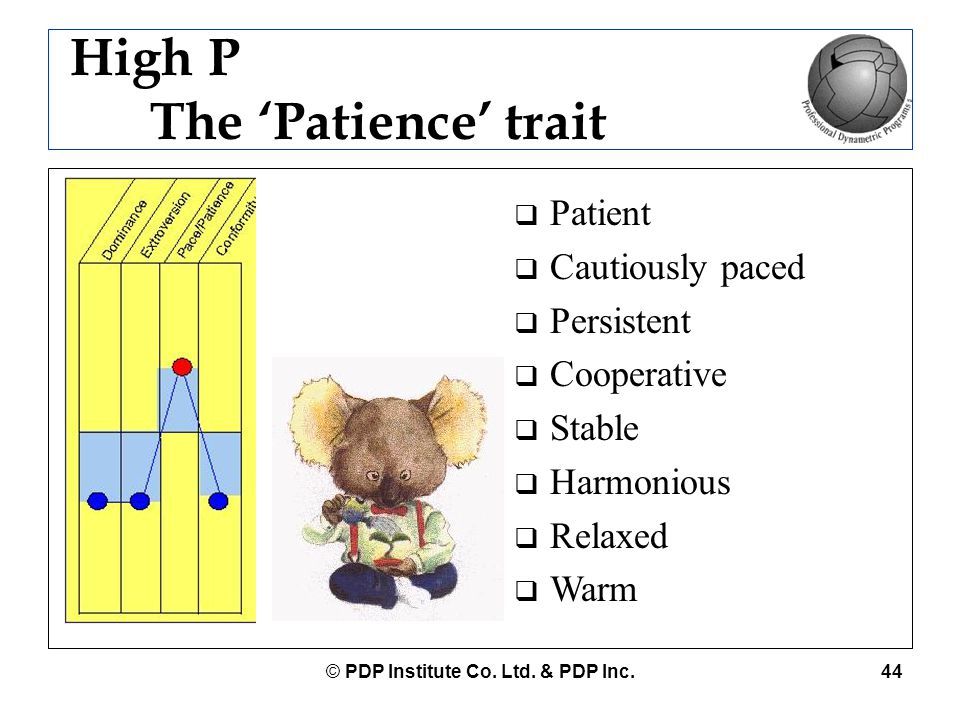 High P The 'Patience' trait