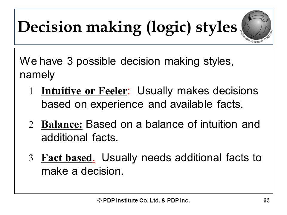 Decision making (logic) styles
