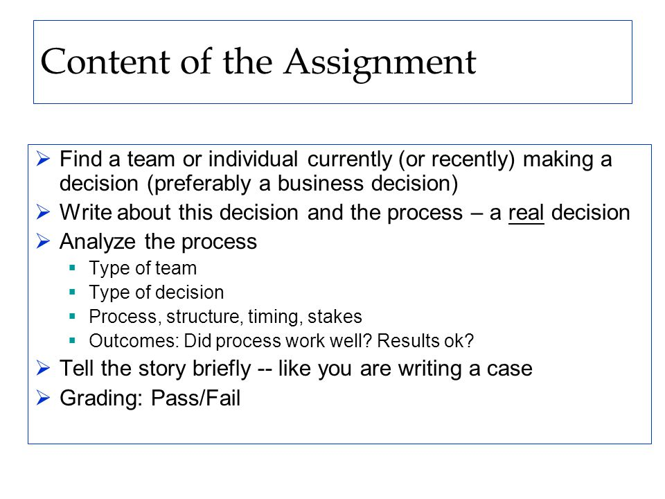 Content of the Assignment