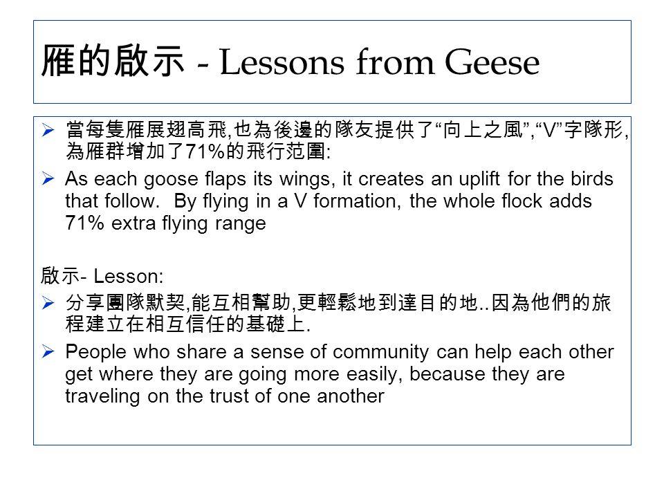 雁的啟示 - Lessons from Geese