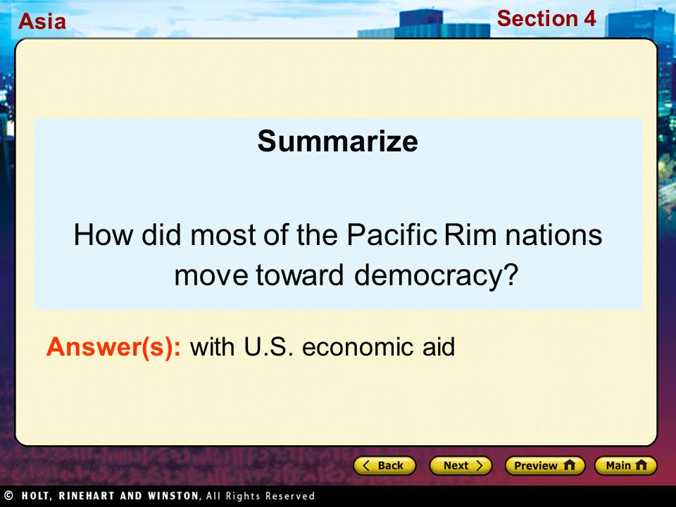 How did most of the Pacific Rim nations move toward democracy