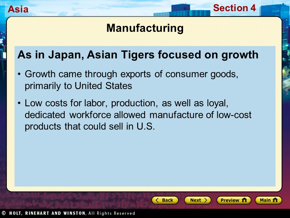 As in Japan, Asian Tigers focused on growth