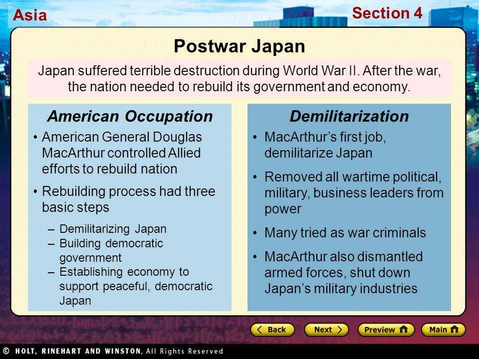 Postwar Japan American Occupation Demilitarization