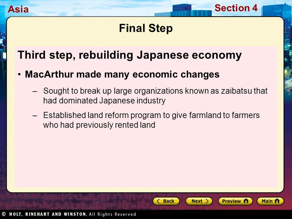 Third step, rebuilding Japanese economy
