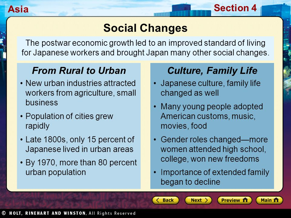 Social Changes From Rural to Urban Culture, Family Life