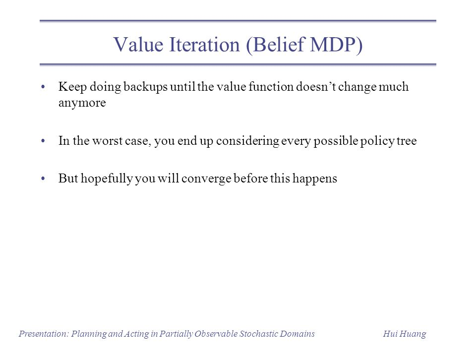 Value Iteration (Belief MDP)