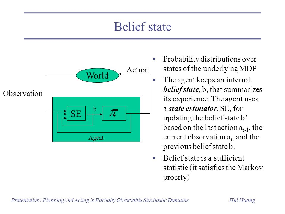 Belief state Probability distributions over states of the underlying MDP.