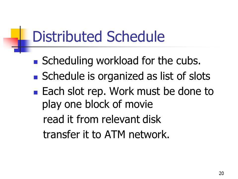 Distributed Schedule Scheduling workload for the cubs.