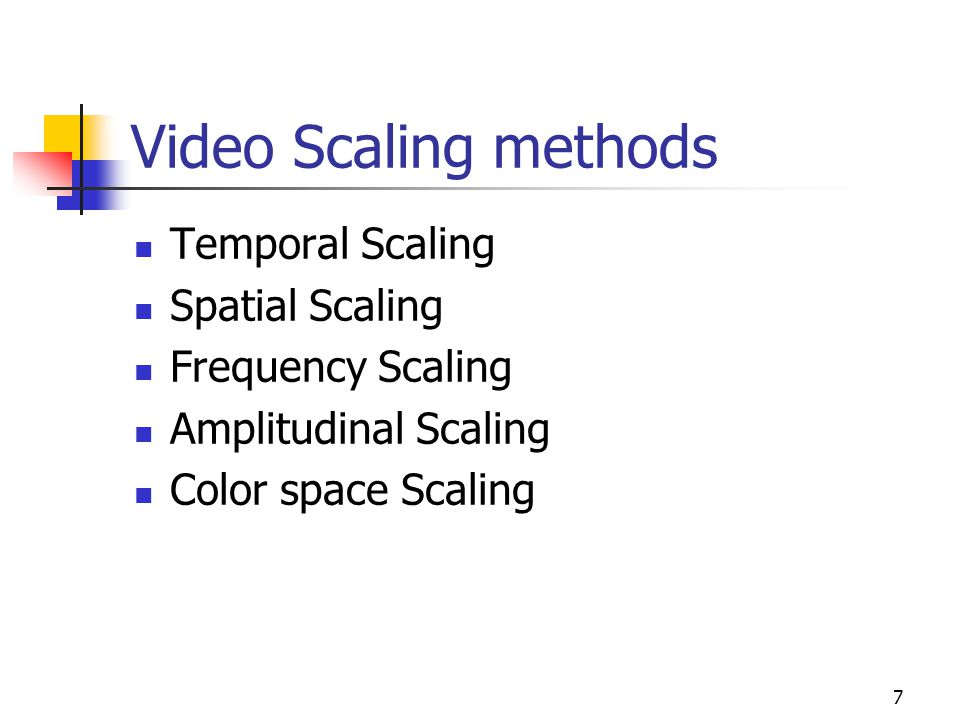 Video Scaling methods Temporal Scaling Spatial Scaling