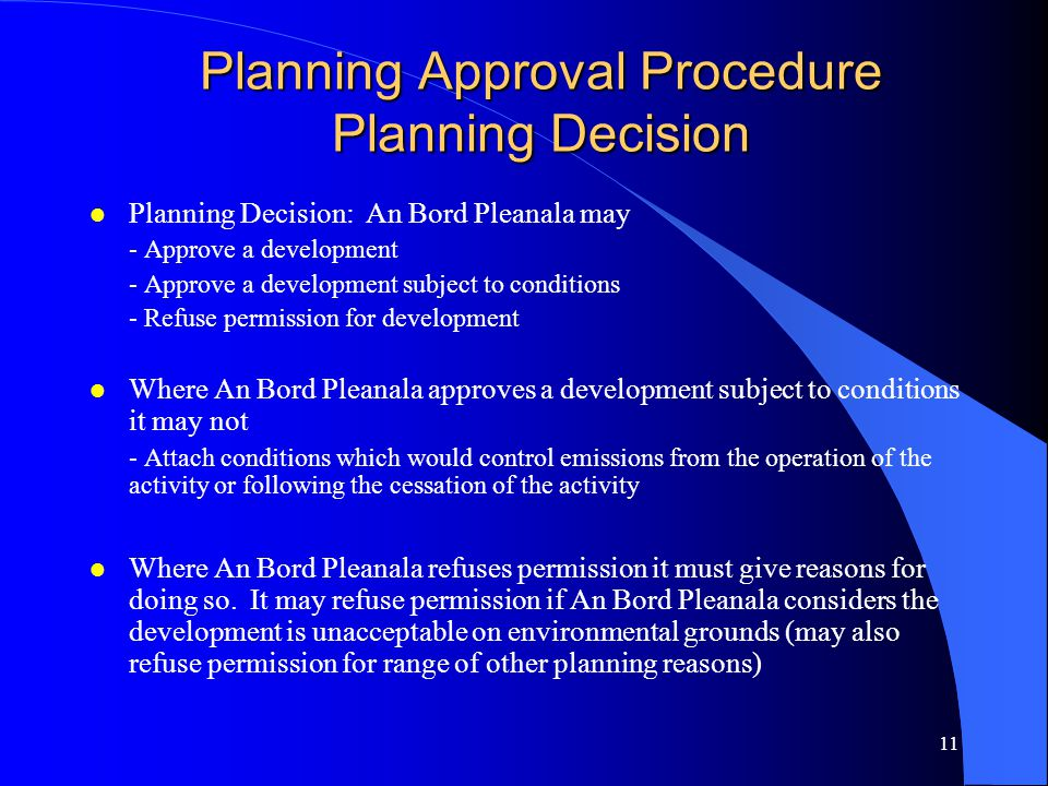 Planning Approval Procedure Planning Decision