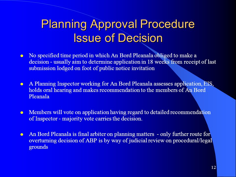 Planning Approval Procedure Issue of Decision