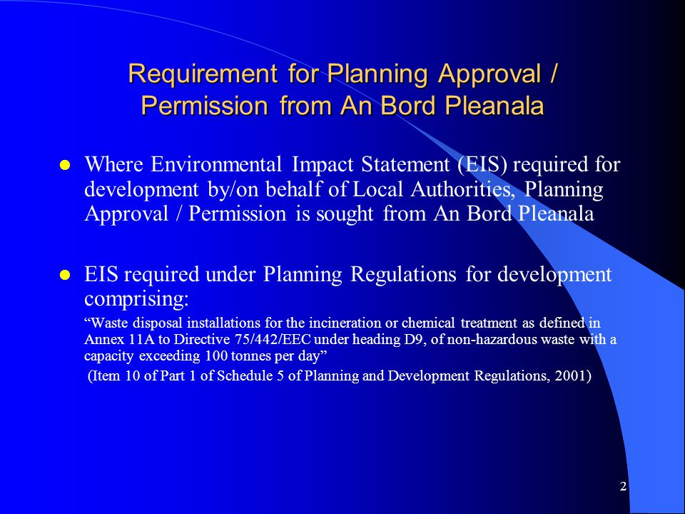 Requirement for Planning Approval / Permission from An Bord Pleanala