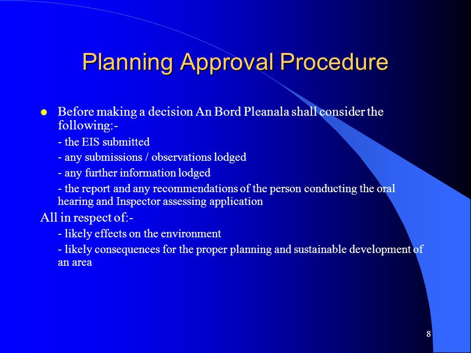 Planning Approval Procedure