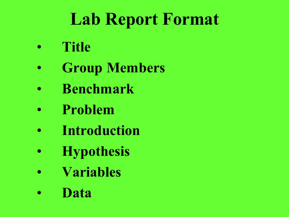 Lab Report Format Title Group Members Benchmark Problem Introduction