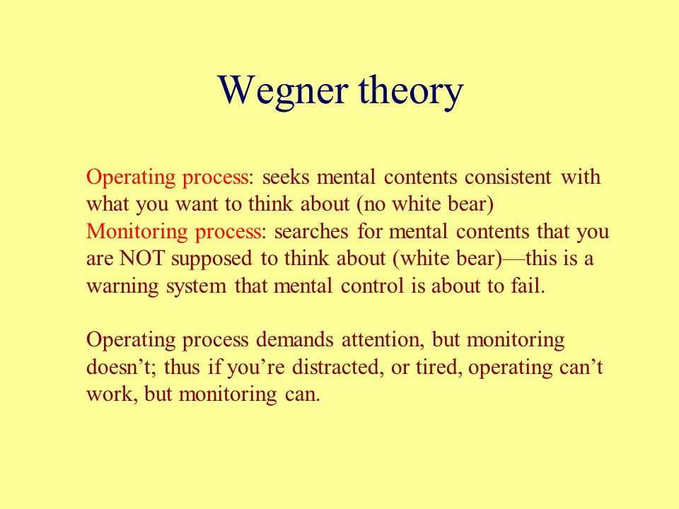 Wegner theory Operating process: seeks mental contents consistent with what you want to think about (no white bear)