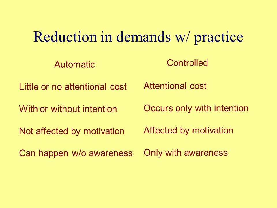 Reduction in demands w/ practice