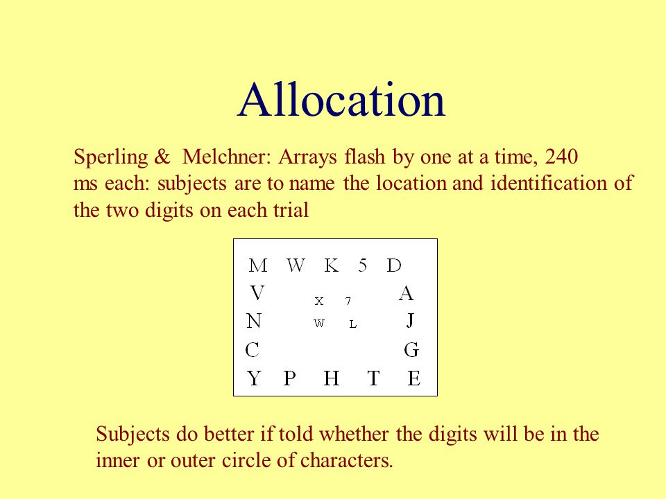 Allocation Sperling & Melchner: Arrays flash by one at a time, 240