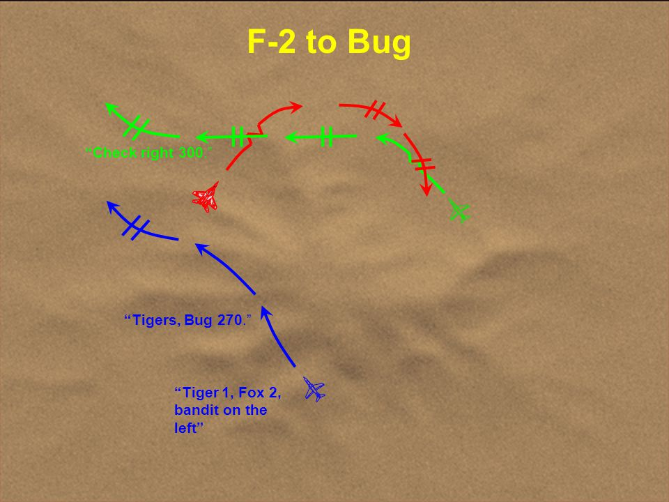 F-2 to Bug Check right 300. Tigers, Bug 270.