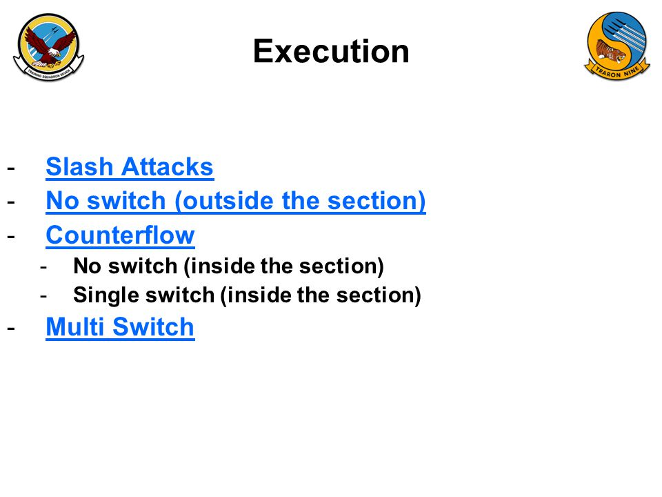 Execution Slash Attacks No switch (outside the section) Counterflow
