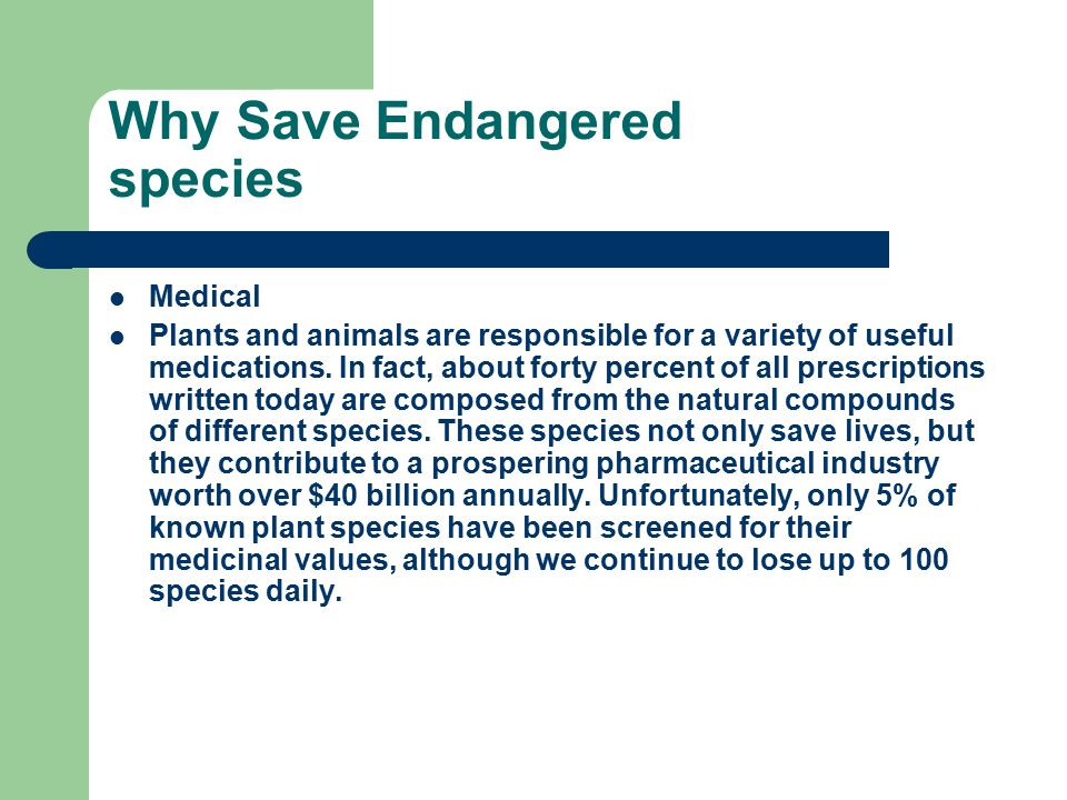 Why Save Endangered species