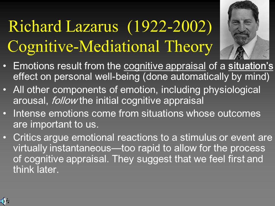 Richard Lazarus (1922-2002) Cognitive-Mediational Theory