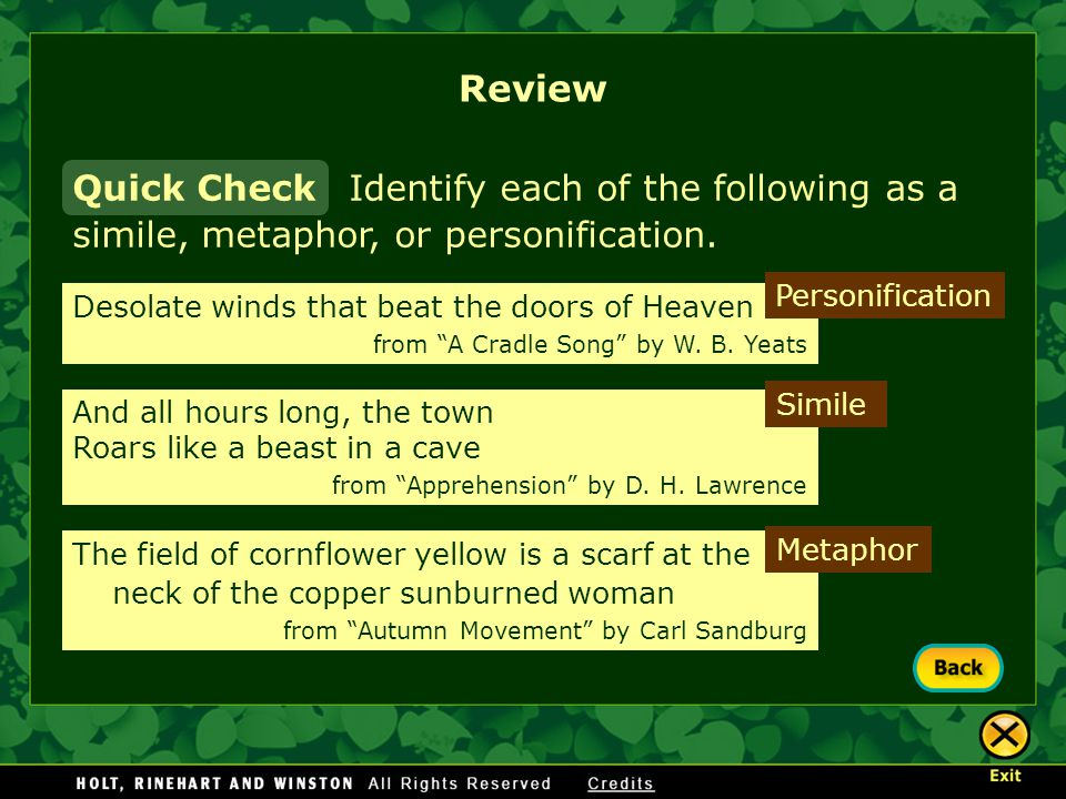 Review Quick Check. Identify each of the following as a simile, metaphor, or personification. Personification.