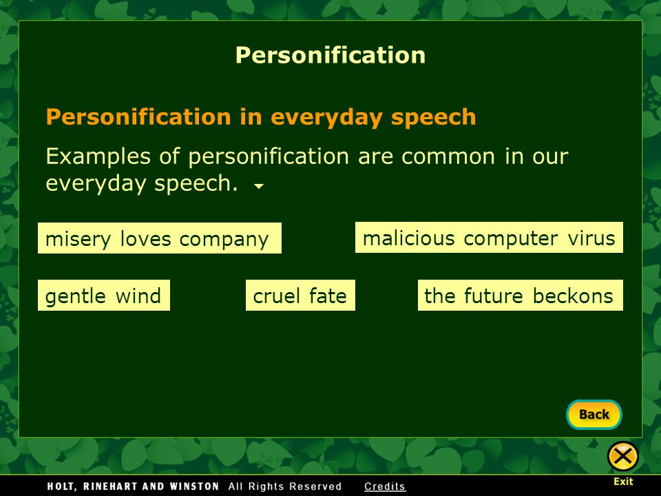 Personification Personification in everyday speech