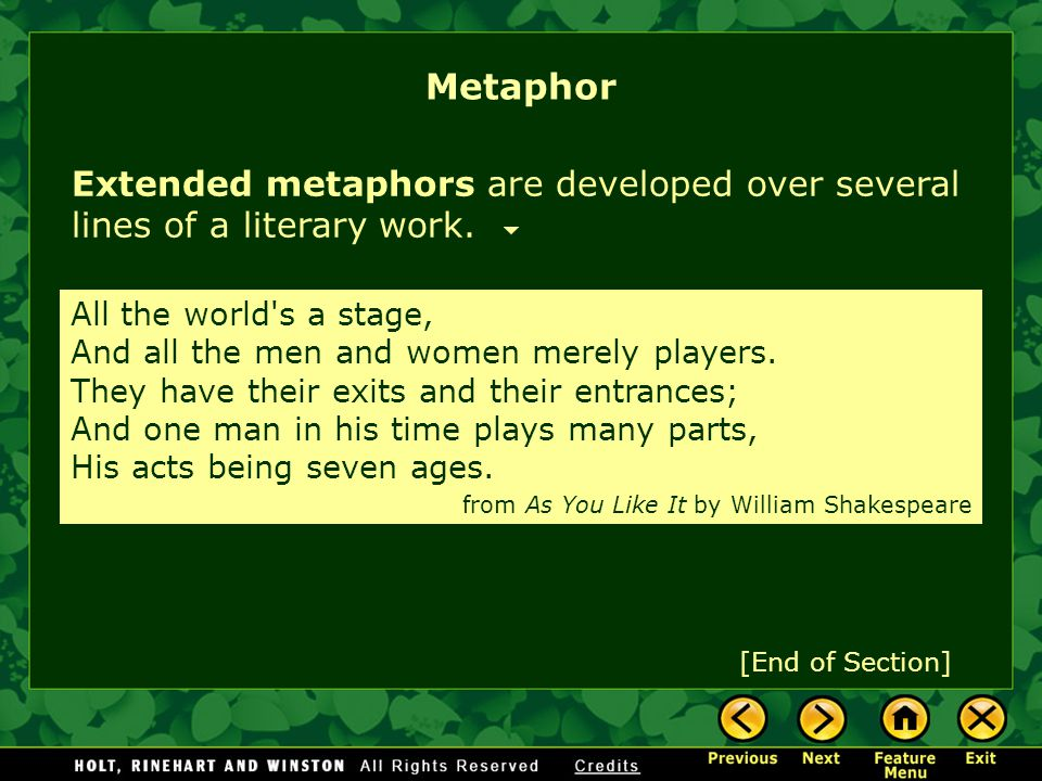 Metaphor Extended metaphors are developed over several lines of a literary work.
