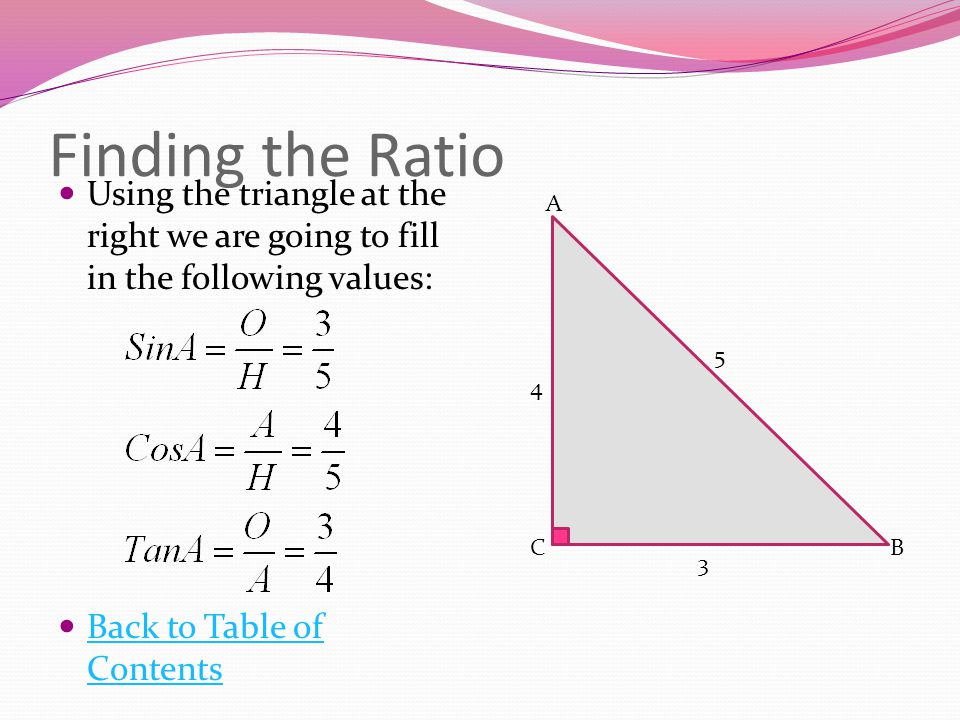 Finding the Ratio Using the triangle at the right we are going to fill in the following values: Back to Table of Contents.