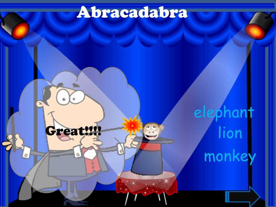 Abracadabra Great!!!! elephant lion monkey