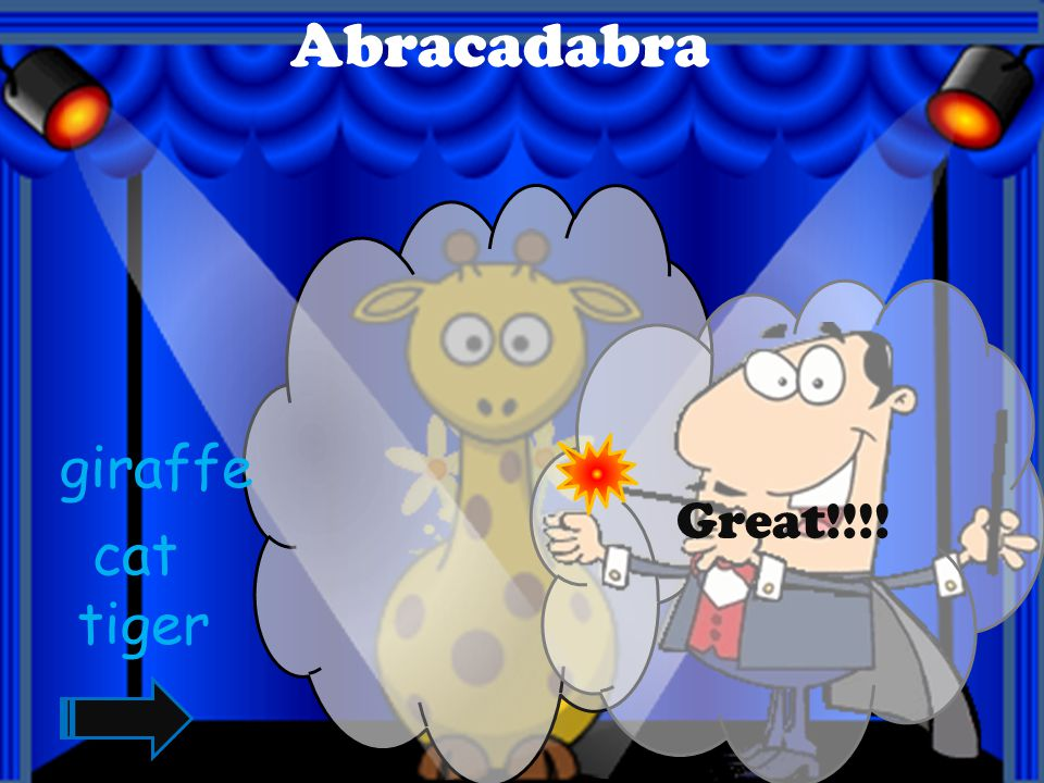 Abracadabra Great!!!! giraffe cat tiger