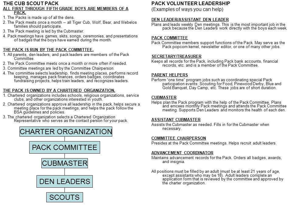 CHARTER ORGANIZATION PACK COMMITTEE CUBMASTER DEN LEADERS SCOUTS