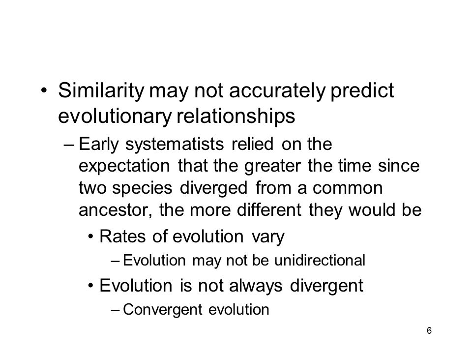 Similarity may not accurately predict evolutionary relationships
