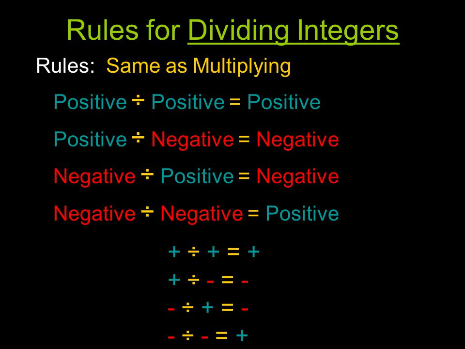 Rules for Dividing Integers